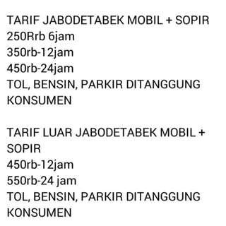 Jasa Rental mobil + Sopir