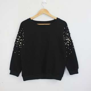 Korean Fashion Style Black Studded Sleeves Sweater Top Blouse