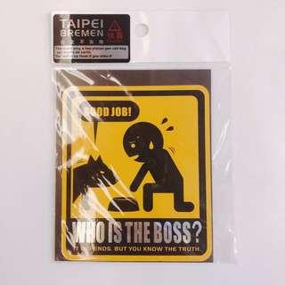 購自台灣 Who is the boss 搞笑狗狗貼紙 包郵