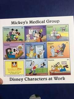 只限兩張 迪士尼醫學團隊 郵票 小型張 米奇唐老鴨高飛