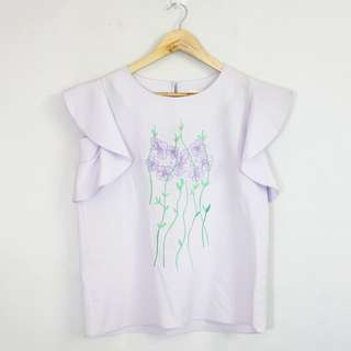 Korean Fashion Style Light Lilac Embroidered Front Blouse Top