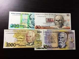 1990+ Brazil 50/200 /1000 Cruzeiros 1990 - UNC