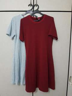 Textured wine red / baby blue dress plus size A-line dress