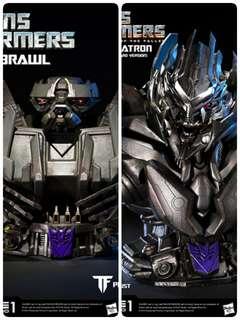 Authentic Prime 1 Studios Brawl and Megatron Bust