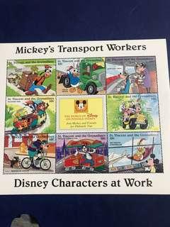 只限兩張 迪士尼郵票 小型張 米奇 唐老鴨 高飛返工