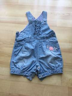 Mothercare denim overall (6-9mo)(worn once)