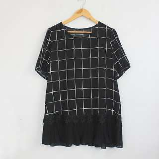 Korean Fashion Style Black Checkered Lightweight Mini Dress