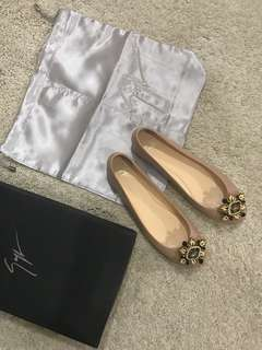 (BNIB) Giuseppe Zanotti Full Leather Nude Ballerina Shoes with Brooch