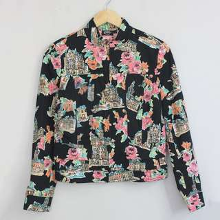 [SOLD] Compela Multi-Color Painted Print Zipped Front Jacket