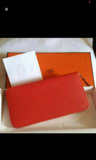 全新 Hermes Silk'In 長銀包 orange poppy