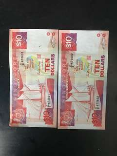 Well kept Singapore $10 note in sequences