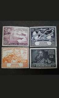 Malaya 1949 Malacca Universal Postal Union UPU Complete Set - 4v MNH Stamps