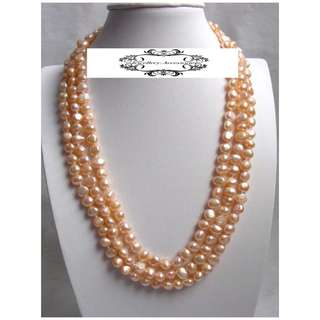 Genuine Lustrous Golden Orange Pink Freshwater Baroque Pearls Necklace  . 金屬光亮粉紅金橙色巴洛克不規則真淡水珍珠項鍊