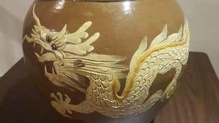 Vintage Hand Painted 3D Clay Dragon Jar/ Pot