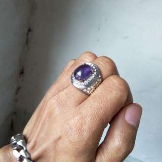 Batu cincin natural kecubung kalimantan berserat