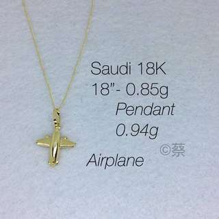 18 karat saudi gold with plane pendant - Moneyback Guaranteed