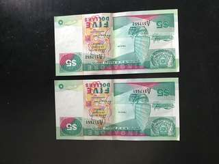 Old Singapore Ship Series $5 note in sequence