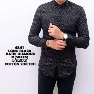 Kemeja batik diamond black cowok slimfit