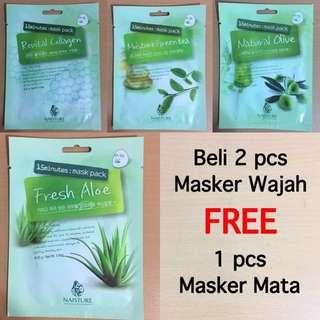 FREE EYE MASK HANYA BELI 2 PCS MASKER WAJAH (IDR 20.000/ 2 PCS)