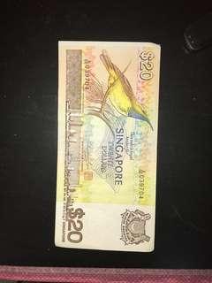 Very good condition $20 bird series note