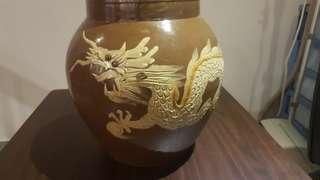 Vintage Hand Painted 3D Clay Dragon Jar/ Pot/Vase/ Antique