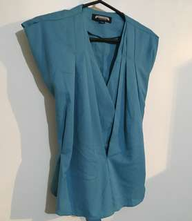 Charity Sale! Authentic Urban Cottage Teal Tie Back Ribbon Office Work Blouse Size small Women