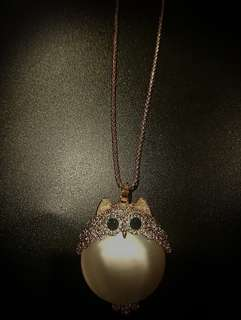 Golden White Owlette Necklace