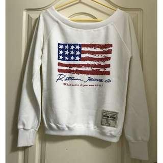 圓領一字領兩穿美國字母長袖上衣