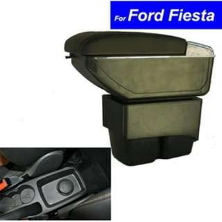 Center Console Storage Box Leather Dual Layer  Arm rest For Ford Fiesta 2009-2018