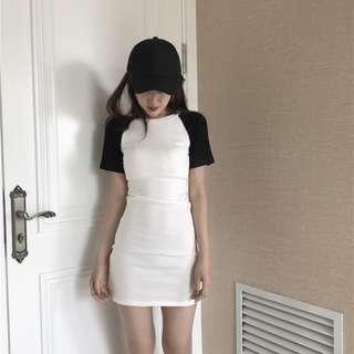 [PRE-ORDER] Women Plain Black and White Short Sleeve Hip Skirt Dress