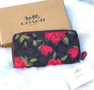 Authentic COACH signature floral long zipped wallet purse