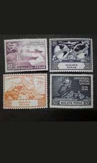 Malaya 1949 Perak Universal Postal Union UPU Complete Set - 4v MH Stamps