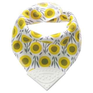 Bandana Chewable Teething Bib with Teether - Sunflower