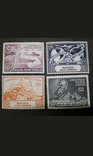 Malaya 1949 Negri Sembilan Universal Postal Union UPU Complete Set - 4v MH Stamps