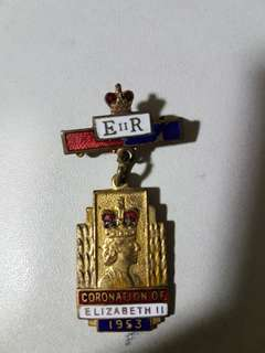1953 coronation of Queen Elizabeth II pin badge