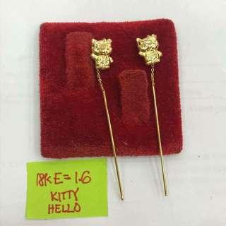 18k Saudi Gold- Hello Kitty Dangle