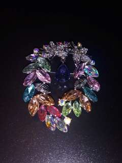 Rainbow Floral Leafy Marquise Brooch