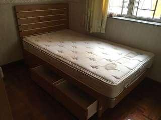 Bed & mattress 床+床褥+床褥保護套