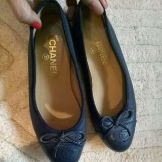 Chanel Caviar Navy Blue Ballerina