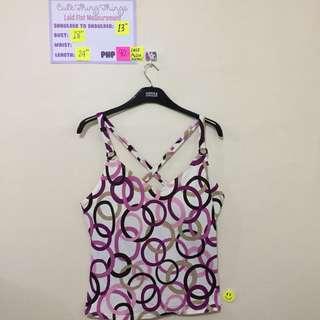 Pink and Purple Geometric Pattern Cross Back Tankini (Padded)