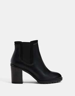 BERSHKA Elastic Heel High Black Ankle Boots