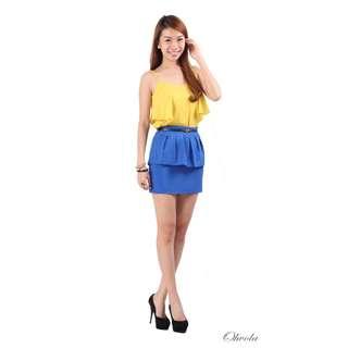 Ohvola Wanderlust Peplum Skirt in Blue (M)