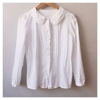 Embroidered collar button down blouse