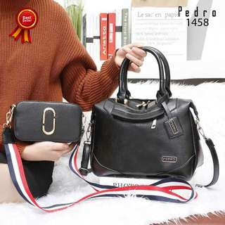 Set 2 in 1 PEDRO Greatest Satchel with Snapshot Clemence Leather Hardware Gold 1458*