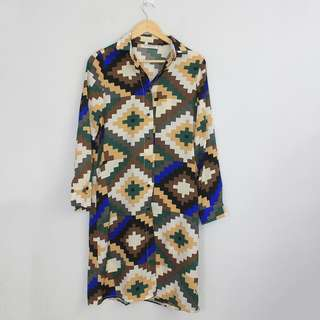 [RESERVED] Vintage Print Polo Dress/ Long Blouse