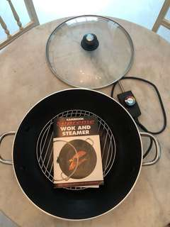 """Electric wok and steamer 14"""" diameter"""