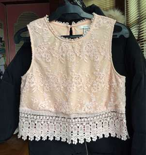F21 Peachy pink lace top