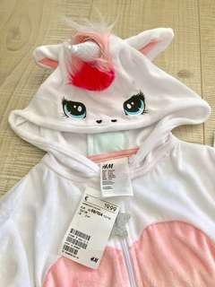 Brand New Auth Girl's White Unicorn Playsuit