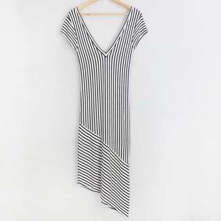 ZARA Trafaluc Striped V-Neck Long Asymmetrical Dress