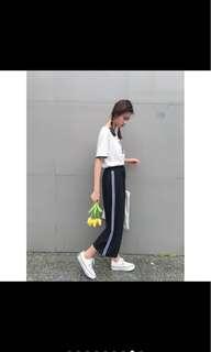 黑白條紋寬褲